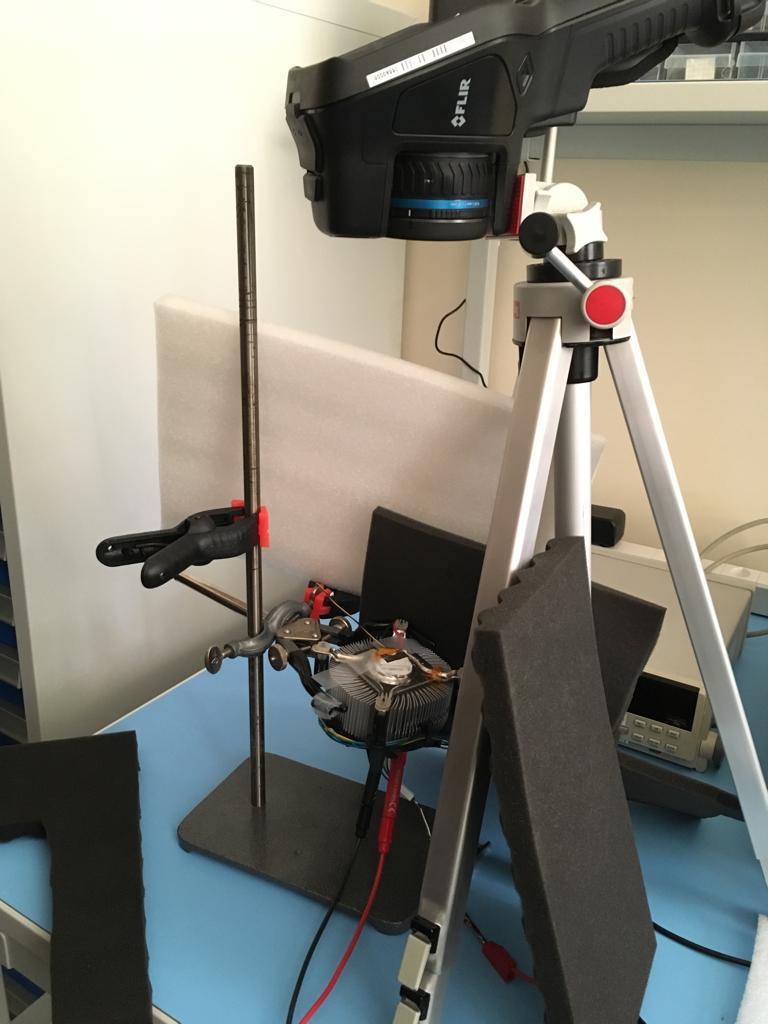 Unser Versuchsaufbau zur Kalibrierung der Infrarotkamera